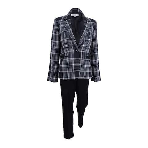 Tahari ASL Women's One-Button Plaid Pantsuit (4, Grey/Black/Ivory) - 4
