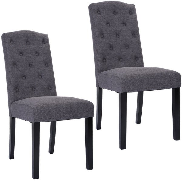 Dining Chair Set 2 Pair Accent Tufted Kitchen Modern Side: Costway Set Of 2 Fabric Wood Accent Dining Chair Tufted