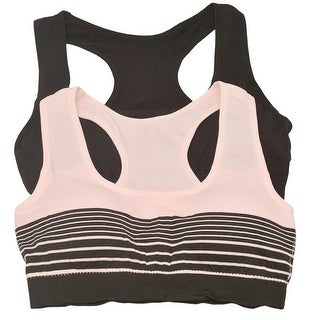 Womens Pink Black Solid Color Stripe Pattern Bralette Top 2 Pc Pack