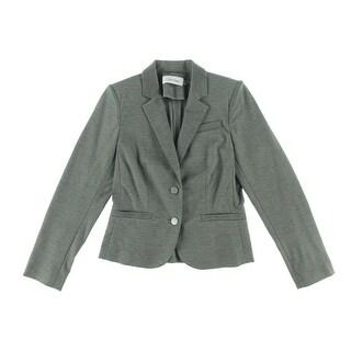 Calvin Klein Womens Petites Heathered Notch Collar Two-Button Blazer - 4P