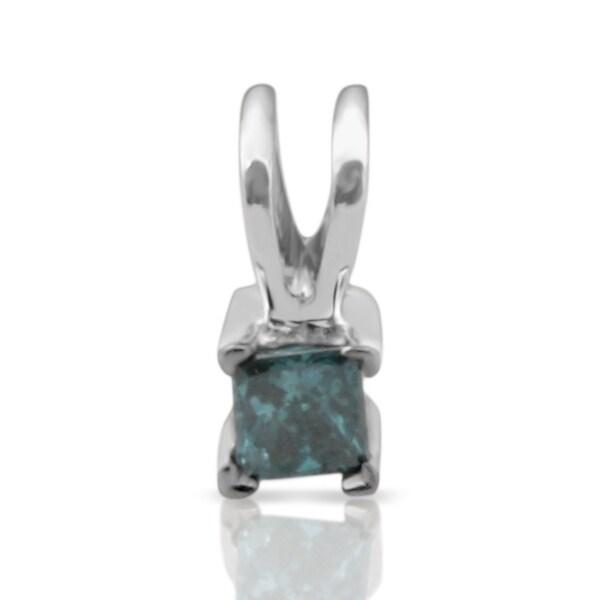 Prism Jewel 2.80MM 0.12CT Princess Cut Blue Diamond Solitaire Pendant