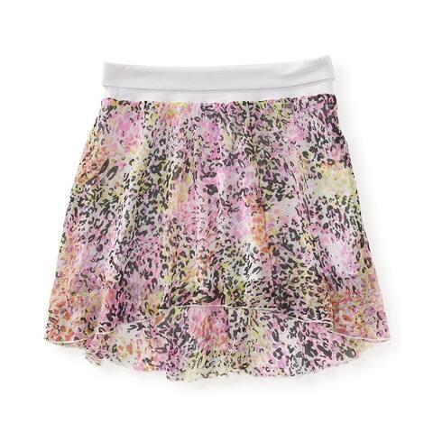 Aeropostale Womens Animal Crinkle Chiffon Woven Tiered Skirt