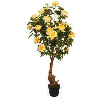 5.5' Decorative Potted Artificial Yellow Peony Flower Tree in a Black Pot
