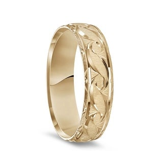 Link to 14K Yellow Gold Satin Finished Ring with Polished Grooved Pattern & Beveled Edges - 6mm Similar Items in Wedding Rings