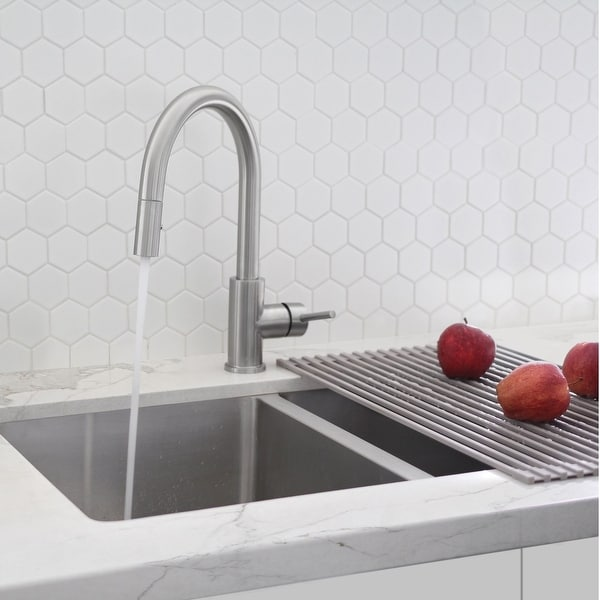 Solid Stainless Steel Sink Kitchen Faucet,1 Lever Handle Pull Down Spout Mixer Tap