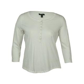 Lauren Jeans Co. by Ralph Lauren Women's Buttoned Front Lace Sleeves Top - xL