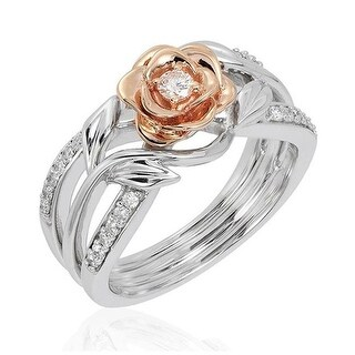 Enchanted Disney Fine Jewelry 14KWP 0.25CT Belle Fashion 7 in. Ring