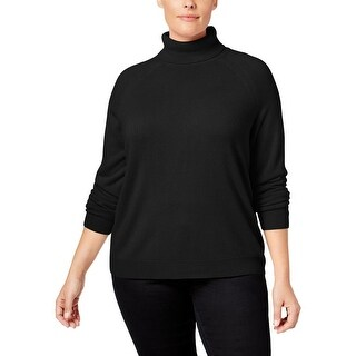 Karen Scott Womens Plus Turtleneck Sweater Knit Long Sleeves