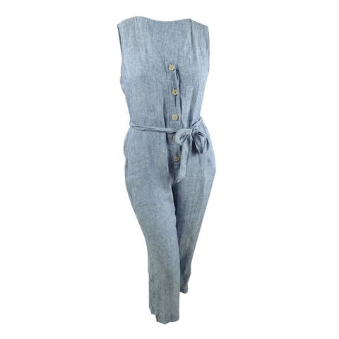 Sanctuary Women's Celene Linen Jumpsuit (XL, Dove Wash)