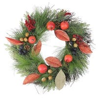 "24"" Autumn Harvest Mixed Berry, Pine, and Nut Thanksgiving Fall Wreath - Unlit"