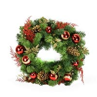 "24"" Pre-Decorated Red and Gold Artificial Christmas Wreath - Unlit - green"