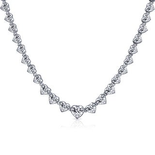 Bling Jewelry CZ Heart Rhodium Plated Bridal Tennis Necklace 16 Inches