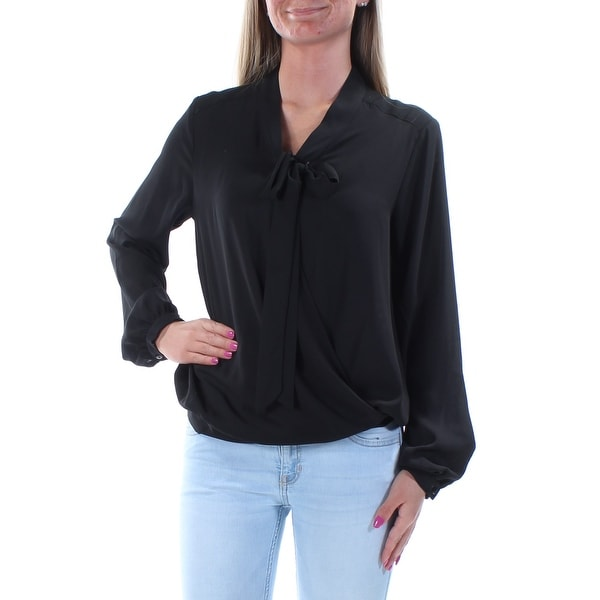 NY COLLECTION Womens Black Long Sleeve V Neck Faux Wrap Top Size: XS