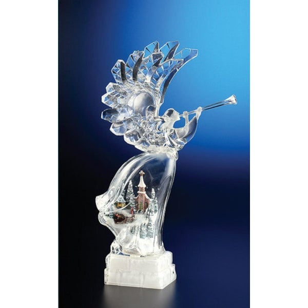 "Pack of 2 Icy Crystal Illuminated Christmas Winter Scene Angel Figurines 17"" - CLEAR"