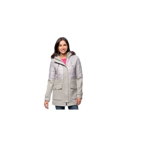 BCBGeneration Womans New Gray Wool Mixed Media Asymmetrical Zip Hooded 3/4 Coat