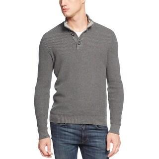 AMERICAN RAG Textured Mockneck Sweater Charcoal Grey XXL 2XL