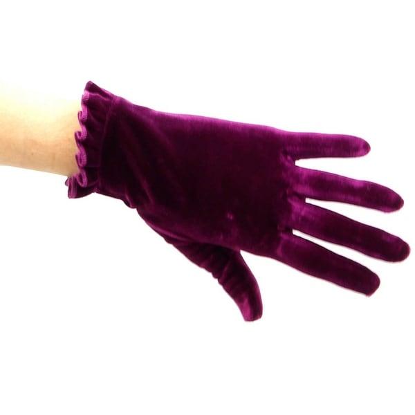 Lady Godiva Ruffle Cuff Velvet Wrist Length Glove