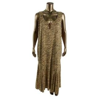 LRL Lauren Jeans Co. Womens Plus Sleeveless Animal Print Casual Dress - 2X