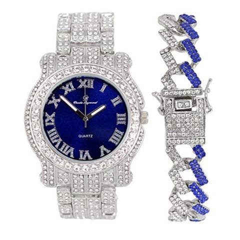 Bling-ed Out Round Luxury Mens Watch w/ Bling-ed Out ZZ Bracelet - L0504BZZ