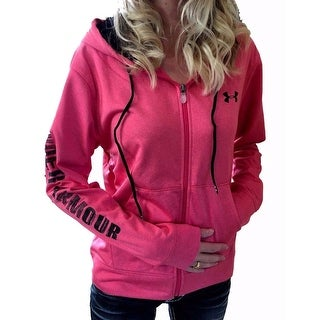 Under Armour Womens Coldgear Small Pink/Black Graphic Logo Zip-Up Hoodie