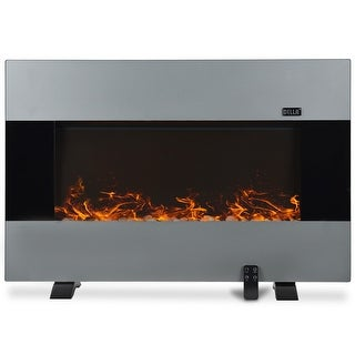 "Della 37""inch XL Heat Electric Wall Mount & Free Standing Fireplace Heater w/ Remote, 1500W, Stainless Steel"
