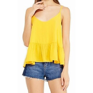 TopShop NEW Canary Yellow Womens Size 10 Ruffled Scoop-Neck Tank Top
