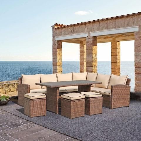 Outdoor 7-Piece Wicker Dining Set Patio Sofa Furniture