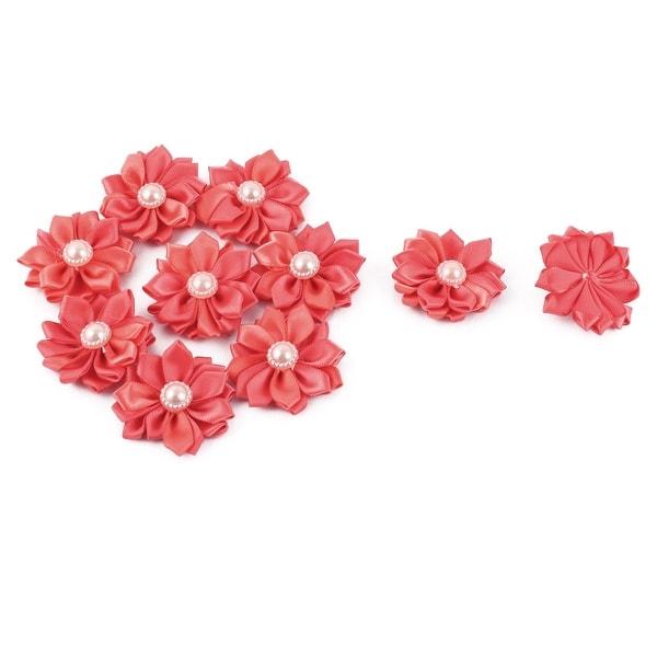 Satin Handmade DIY Ornament Appliques Ribbon Flower Light Red 40 x 40mm 10pcs