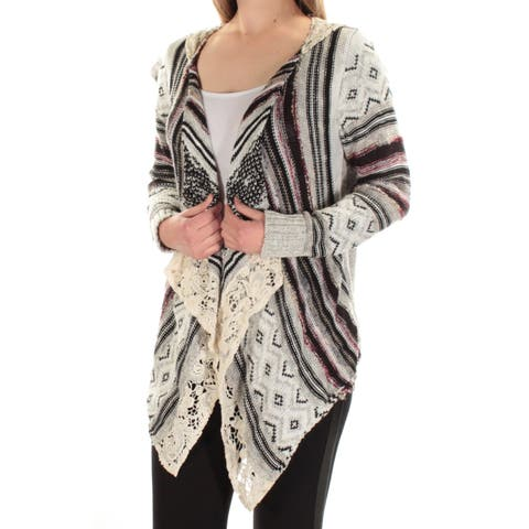 AMERICAN RAG Womens Black Lace Hooded Draped Striped Long Sleeve Open Sweater Size: M