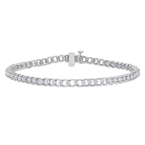 Miadora 1 7/8ct DEW Moissanite Link Tennis Bracelet in Sterling Silver - 7.25 in x 3.6 mm x 3.4 mm