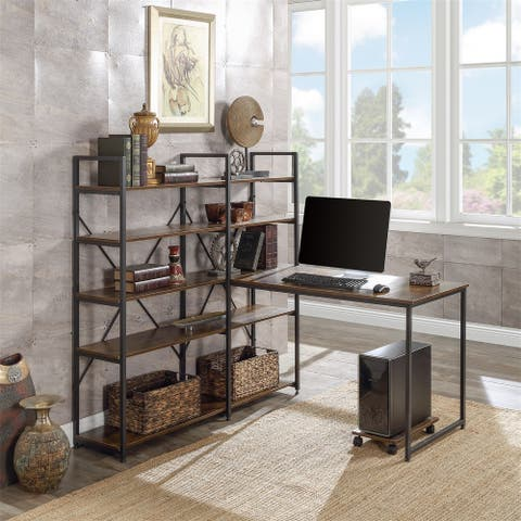 """Merax 54"""" Large Computer Desk with 10 Storage Shelves"""