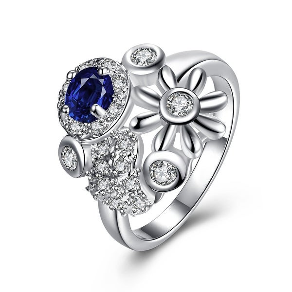 Mock Sapphire Multi-Charms Inserted Petite Ring
