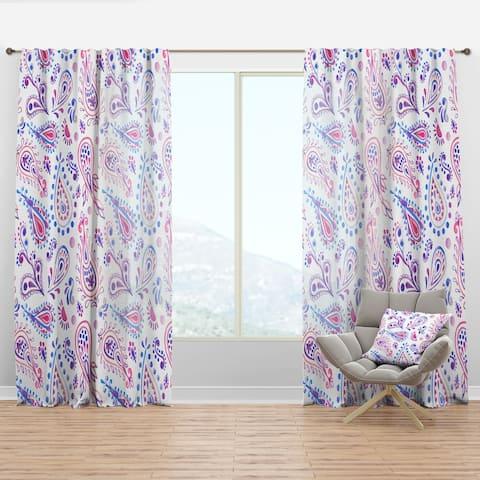 Designart 'Pink Purple Paisly' Bohemian & Eclectic Curtain Panel