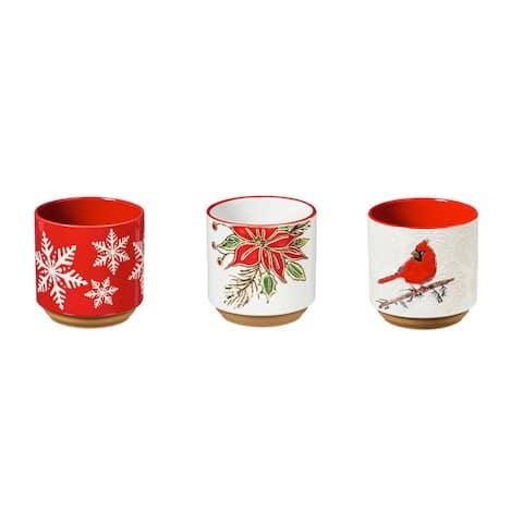 "4"" Ceramic Cachepot, Holiday, Set of 3"