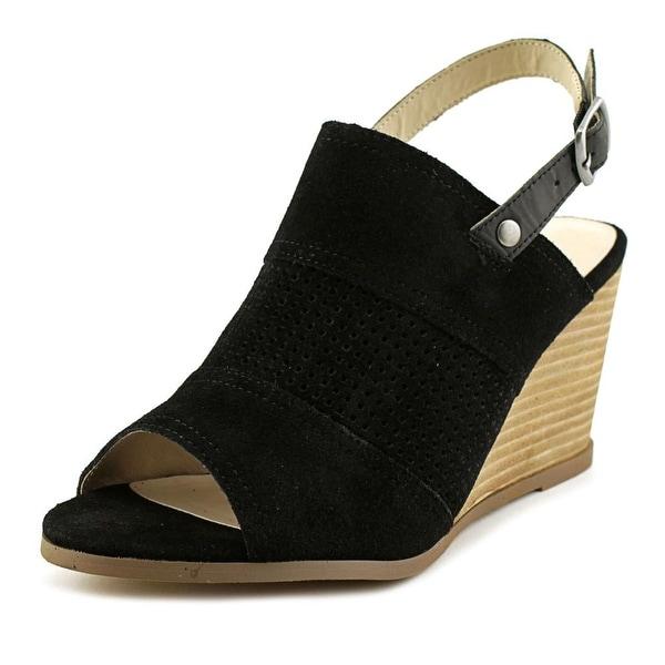 Very Volatile Hyde Women Open Toe Suede Black Wedge Sandal