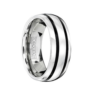 FABIUS Tungsten Carbide Domed Wedding Band with Black Enamel Inlay by Crown Ring - 8mm