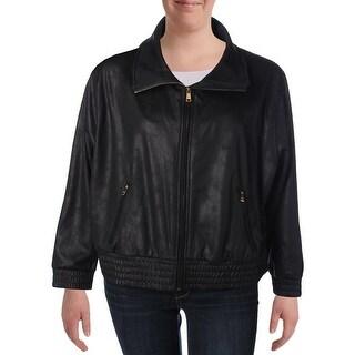 Lauren Ralph Lauren Womens Plus Jacket Zip Pockets Coated