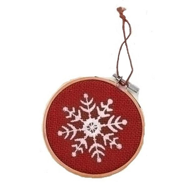 """4.5"""" Red and White Embroidered Snowflake in Hoop Loom Christmas Ornament"""