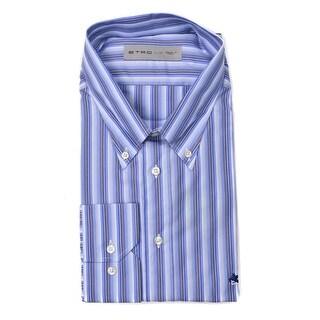Etro Blue Cotton Vertical Striped Print Button Down Shirt