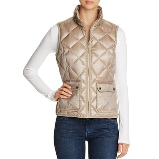 Calvin Klein Womens Casual Vest Metallic Front Pockets