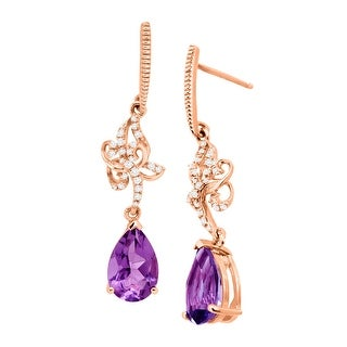 2 1/5 ct Natural Amethyst & 1/8 ct Diamond Drop Earrings in 10K Rose Gold