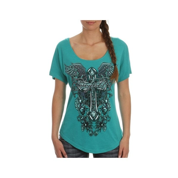 1be929e5f5cf0d Shop Cowgirl Up Shirt Womens Scoop Neck Flourish Cross Graphic - Free  Shipping On Orders Over $45 - Overstock - 16686675