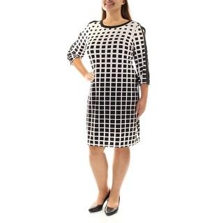 Womens Black 3/4 Sleeve Knee Length Shift Dress Size: 10