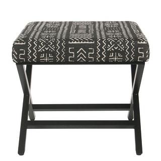 Porch & Den Birchaire Onyx Upholstered Metal Ottoman