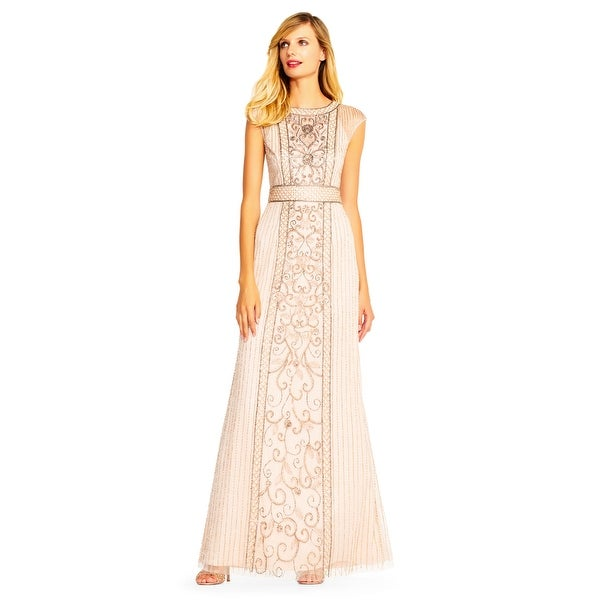 Shop Adrianna Papell Cap Sleeve Beaded Gown Sheer Details, Shell, 18 - On Sale - Free Shipping Today - Overstock - 23579699