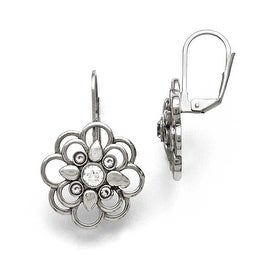Chisel Stainless Steel Polished CZ Flower Leverback Earrings