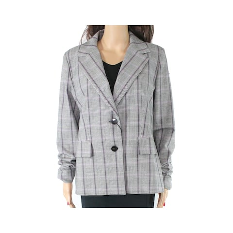 Emme Women's Jacket Gray Size 14 Glen Plaid Dual Button Notched Collar