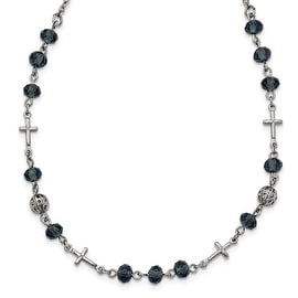 Silvertone Blue Glass Bead Cross Necklace - 16in