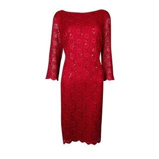Calvin Klein Women's V-Back Bateau Scalloped Lace Sheath Dress