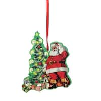 "4.5"" Decorative Retro Santa in Front of Christmas Tree Wooden Ornament"